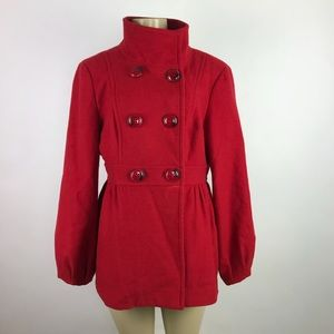 Jessica Simpson Wool Blend Pea Coat Red
